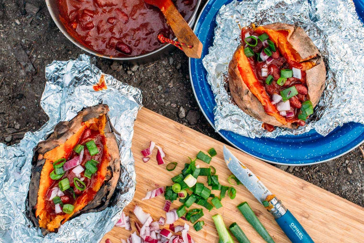 Foil Wrapped Baked Sweet Potatoes With Chili Camping Meal 9